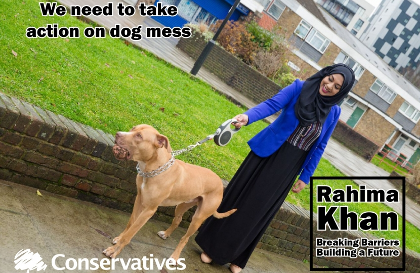 Rahima Khan walking the dog