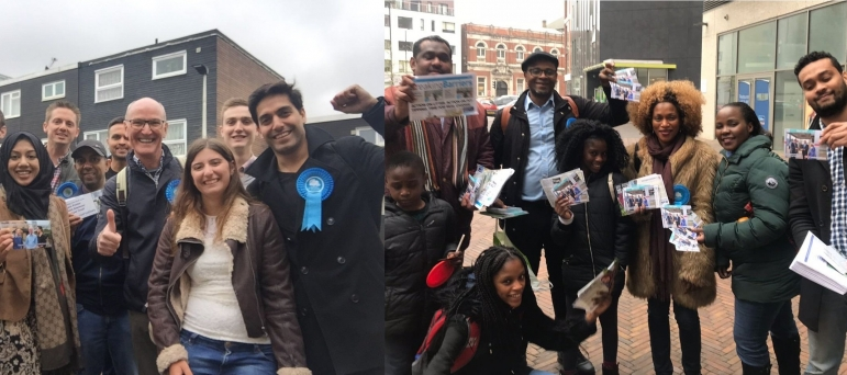 Two teams of Conservative activists out campaigning.