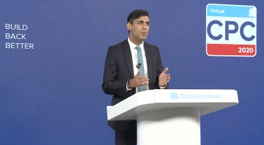 Chancellor of the Exchequer Rishi Sunak at the podium